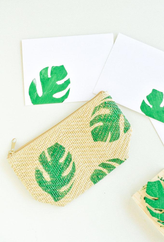 Printed Palm Leaf Pouch
