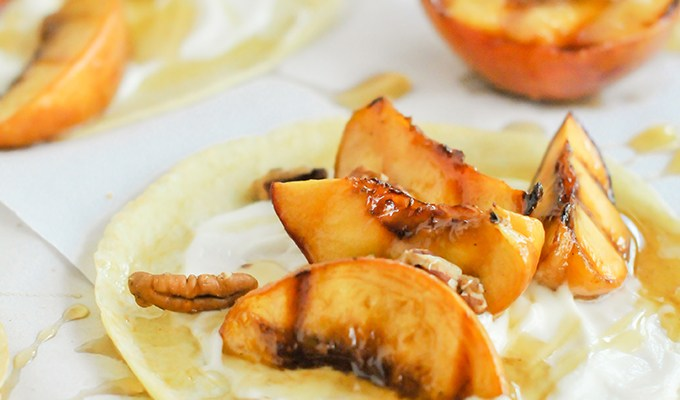 Taste It \\ Crepes with Brown Sugar Grilled Peaches & Maple Cream