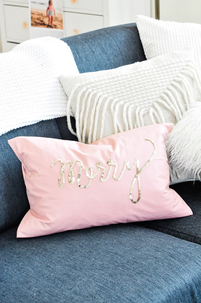 sequin diy pillow