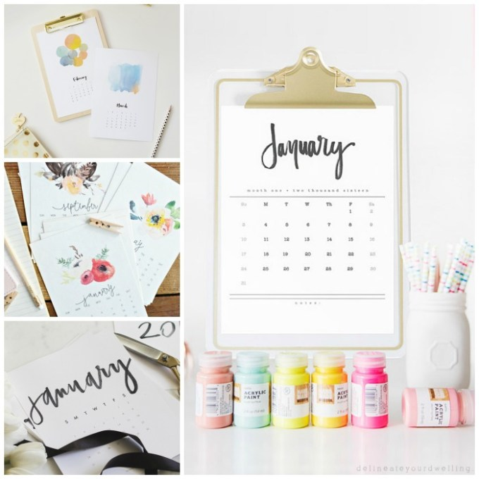23 Cool & Colorful Printable Calendars For 2016