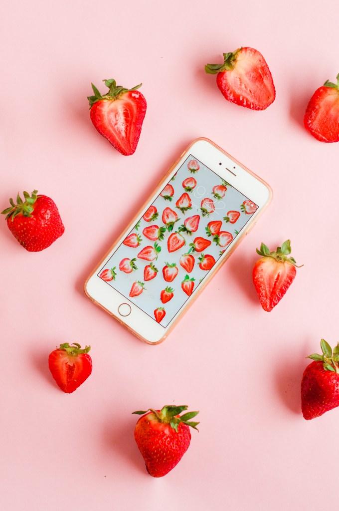 9 Free Wallpaper Downloads \\ Strawberry Wallpaper Download via @theproperblog
