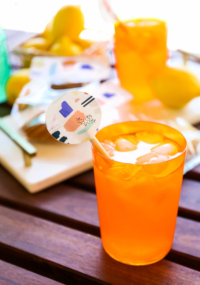#ProperPrintables \\ Printable Abstract Lemonade Drink Stirrers & Cookie Bags