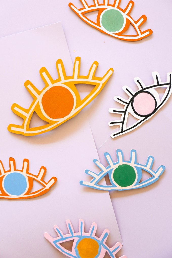 painted wooden eye-shaped valentines