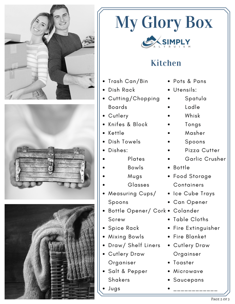 The Property Buyers Guide by Simply Altruism - Glory Box Checklist Page 2 of 3