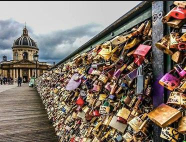 Lovers Lock Bridge in Paris.
