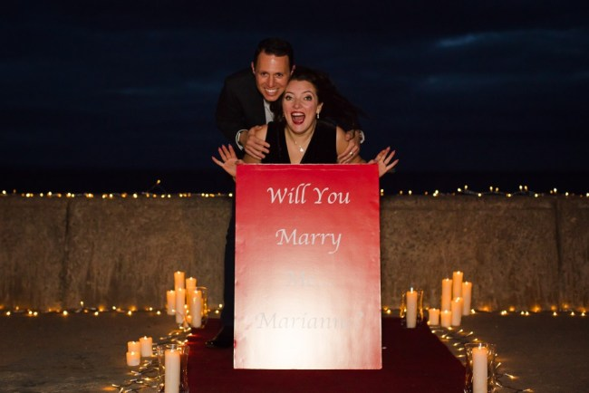 marriage proposal on Portobello Beach in Edinburgh