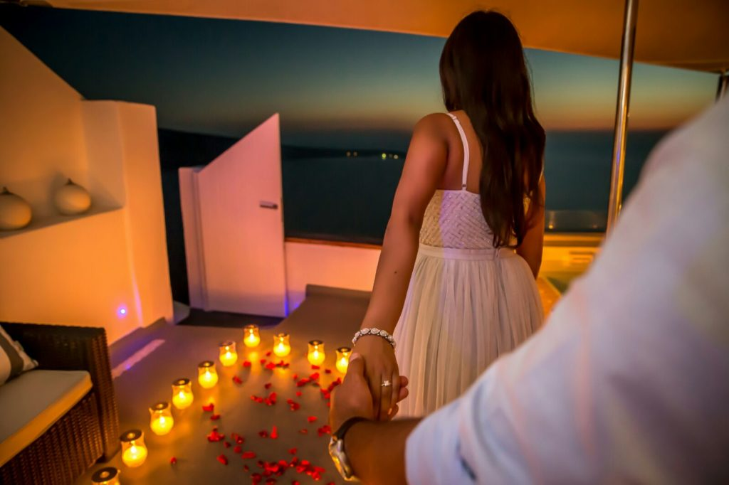 Marriage Proposal in Santorini planned by The Proposers
