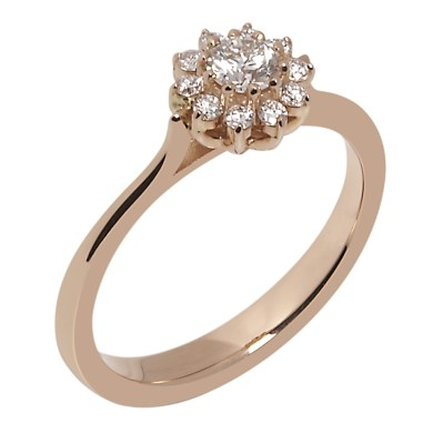 Rose gold was first popularised in the 1920's and this flower cluster ring in 18ct rose gold is reminiscent of the 'drawn from nature' designs of this period. A294202, £1,850