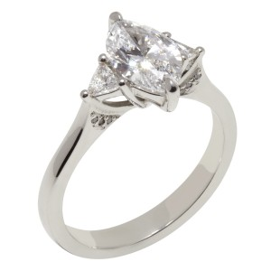 Beautiful marquise and trilliant cut diamond ring