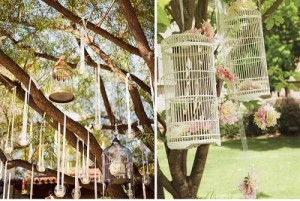 Shabby Chic bird cages would be hung from trees and filled with flowers