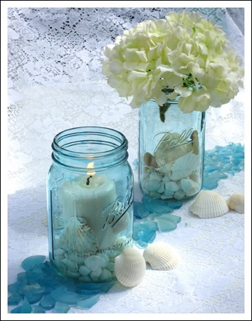 We would fill colourful jars with pebbles and shells for a rustic effect