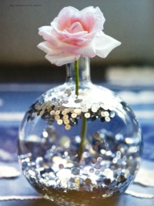 Put glitter into water for a romantic vibe