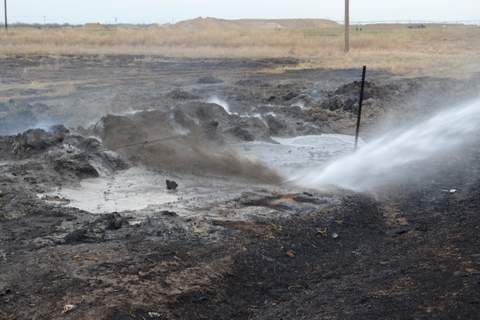 Blasting Burned Bales with Water Jet