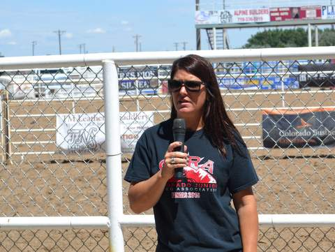 Rodeo President Danielle Wollert at Start of Rodeo Competition