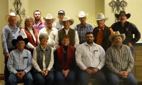 Back row, L to R: Director Tom Hendrix, Wray, CO; Past President and State Representative Kimmi Lewis, Kim, CO; Immediate Past President Wil Bledsoe, Hugo, CO; Director Wayne Rusher, Ordway, CO; Director John Beatty, Ignacio, CO; Director Martin Canterbury, Canon City, CO; Director Tom Robb, McClave, CO; Past President John Reid, Ordway, CO; Director David Cundiff, Bayfield, CO. Front row, L to R: Past President Gerald Schreiber, Last Chance, CO; Director and Treasurer Janell Reid, Ordway, CO; President Lorene Bonds, Durango, CO; Director and Vice President Cody Jolly, Hugo, CO; and Director and Secretary Curt Werner, Merino, CO.
