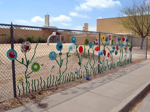Flowers on the Fence at HOPE Center, Playground in Background