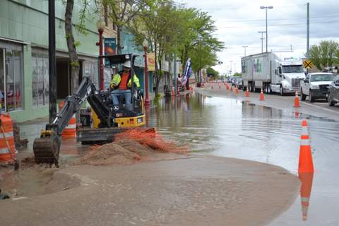 Water Flows Along South Main Street