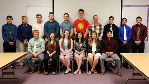 Photo: (Seated) Casey Day, Bailey Cook, Faith Camp, Tarin Kemp, Sarah Walsh, Arnoldo Maltos-Garcia; (Standing) Adam Hopper, Sam Cox, Josh Crites, Michael Benz, Travis Struble, Sam Boone, Andrew Astalos, Cristian Alvarez, Halbert Alvarez, Levi Morris.  Not Pictured: Mia Cory, Austen Emick, Lindsy Frans, Kathleen Johnson, Paige Kelley, Ashtyn McDonald, Natalie Plothow, Cole Smith, James Steerman and Jeniffer Trujillo
