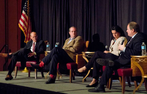 """Panelists discuss issues affecting the livestock industry at """"The First 77 Days of the Trump Administration"""" panel. Panelists from left to right: Thad Lively, US Meat Export Federation; Colin Woodall, National Cattlemen's Beef Association; Jackie Klippenstein, Dairy Farmers of America; and Michael Formica, National Pork Producers Council"""