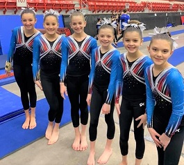 Wranglers Gymnastics Team of Wild West Athletics competes in Salina Ks.