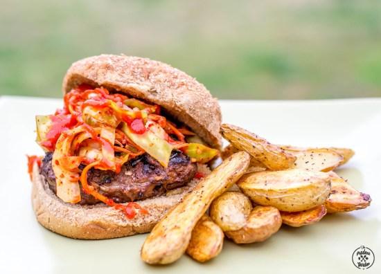 Korean Bulgogi Burgers with Kimchi Slaw