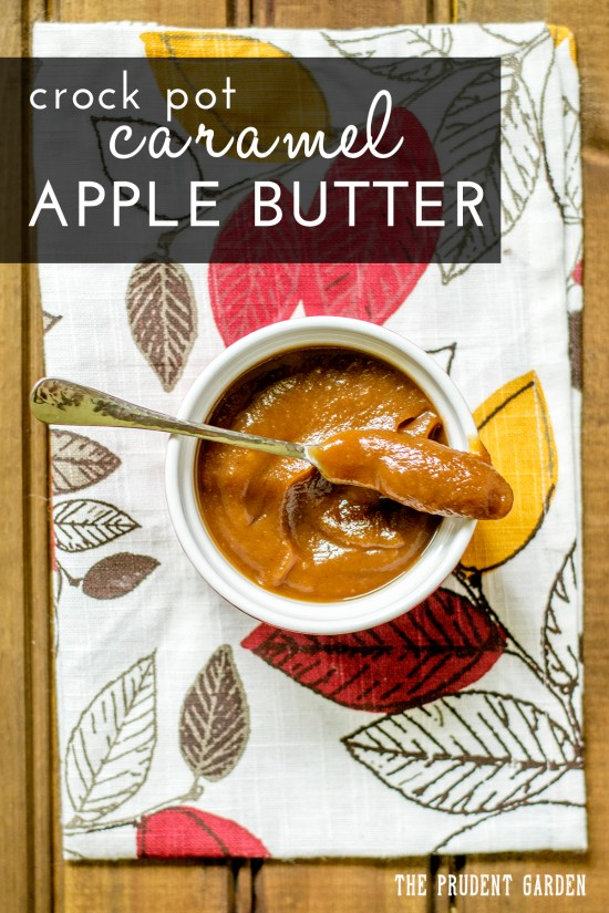 Make a batch of delicious caramel apple butter in a crock pot! Crock pot apple butter is a cinch to make and a great way to preserve apples this fall.