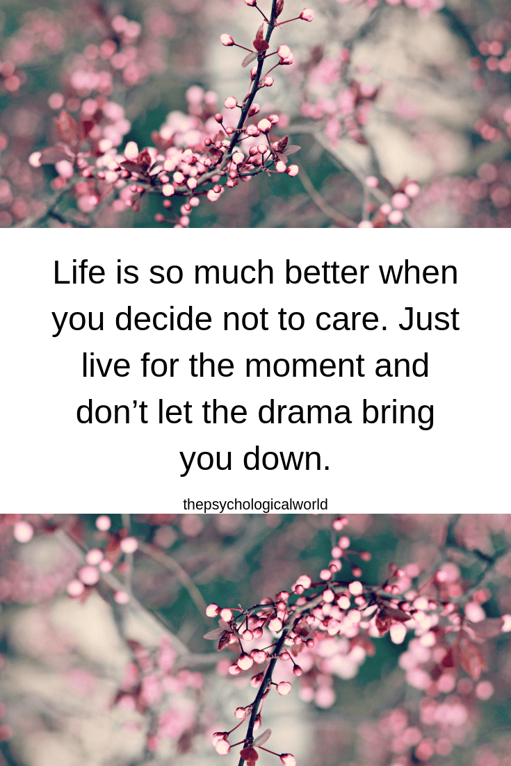Life is so much better when you decide not to care. Just live for the moment and don't let the drama bring you down.