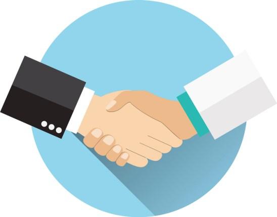 Handshake doctor and patient,