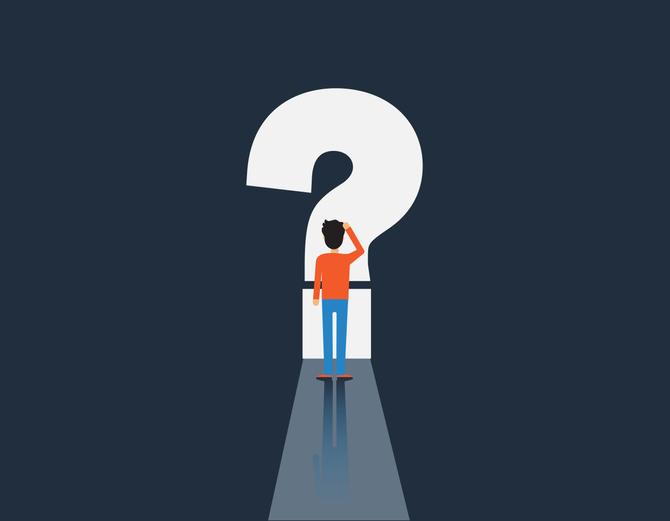 man and question mark, man in front of question mark, vector illustration
