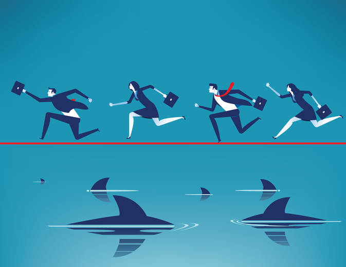 Risk. Business team running on tightrope in rope with floating predatory sharks. Concept business vector illustration.