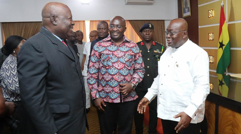 President Akufo-Addo interacting with the Vice President and Martin Amidu