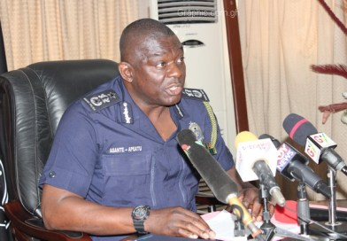 Mr David Asante-Apeatu, the Inspector General of Police (IGP), addressing the press conference.