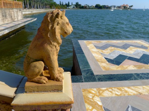 Grand lion statuary stand guard over Sarasota Bay.