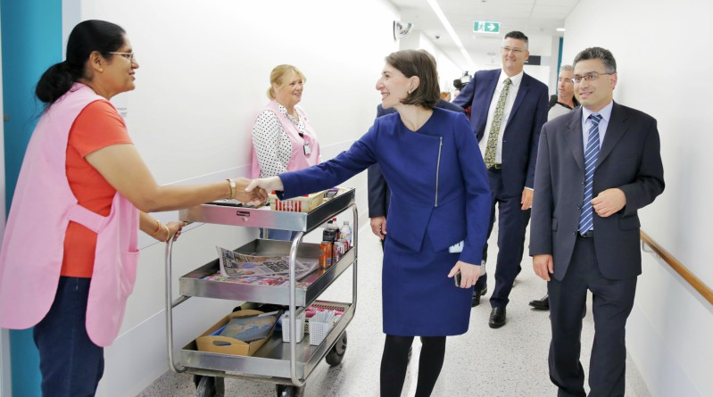 NSW Premier Gladys Berejiklian meets Blacktown Hospital staff.
