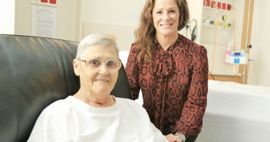 Patient Phyllis Andrews with Fantastic Furniture area leader Renee Bosworth.