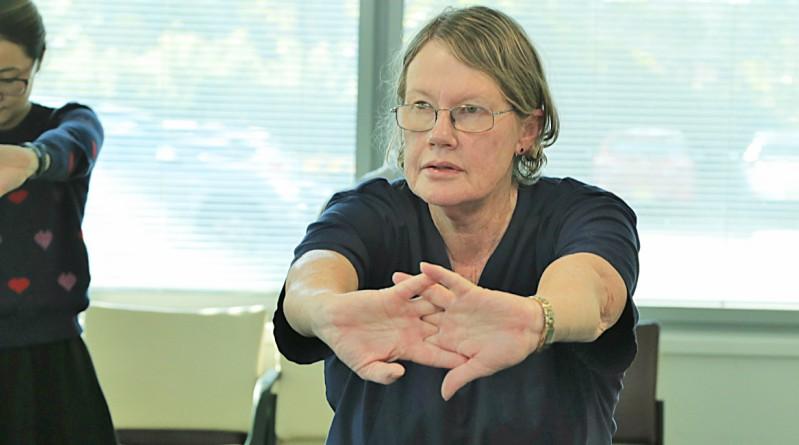 Registered nurse Carmel Nicholls at the WSLHD Wellbeing Festival stretching class at Auburn.