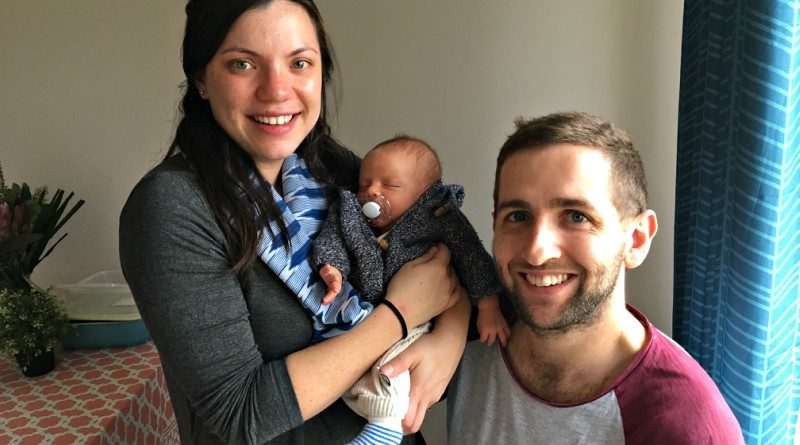 Zoe and Simon Cunliffe-Jones with Toby, 10 days after his birth at Westmead Hospital.