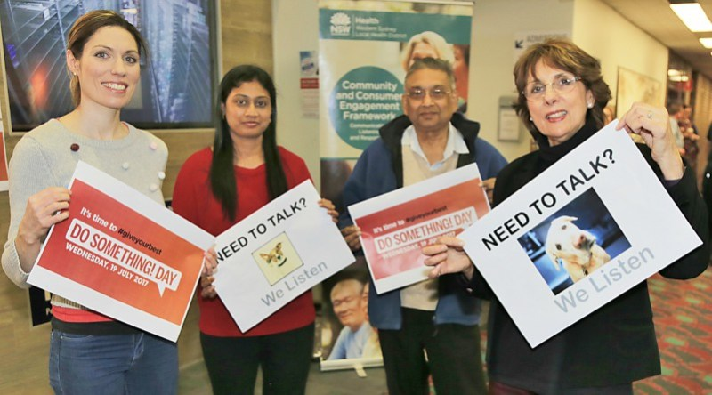 Consumer representatives Rachel Taufer, Kanchana Balakumar and Ajay Varshney and WSLHD community and consumer partnerships manager Coralie Wales on Do Something Day.