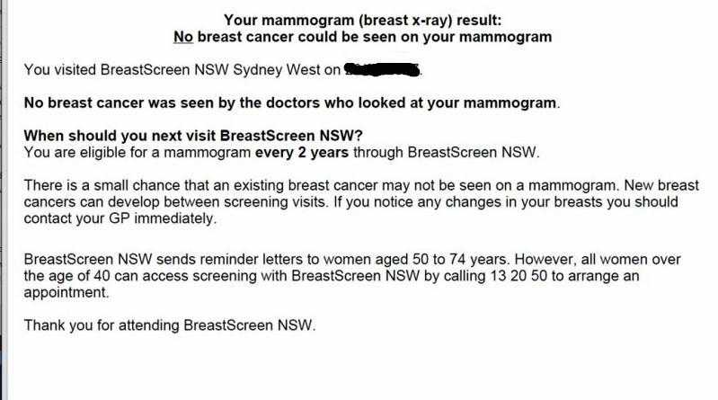 BreastScreen NSW mammogram letter