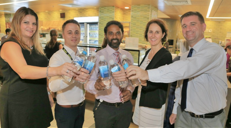 Rethink your Drink @ Westmead Hospital is a finalist in this year's WSLHD Quality Awards. Pictured: Coca Cola Amatil's Kristen Geromboux, Zoukis' Tamas Olah, Westmead Hospital corporate services director Mathivanan Sakthivel, WSLHD Population Health's Rachael Graham and Westmead Hospital general manager Andrew Newton.