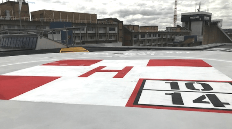 view of painted helipad surface