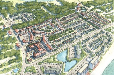 A conceptual rendering of a town center in Perdido Key, intersecting Perdido Key Drive and Johnson Beach Road. In this option presented in the master plan, more than 100,000 square feet of retail space, 215 townhomes and single-family residences, and a 300-room hotel is proposed. (Special to the Pulse)