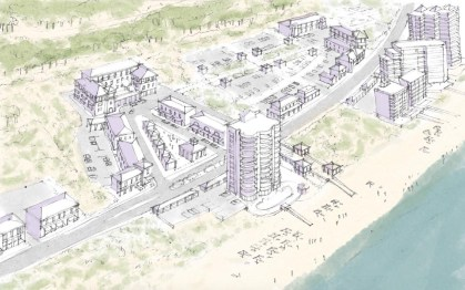 A conceptual rendering of a town center in Perdido Key along Perdido Key Drive. In this option presented in the master plan, a development adjacent to a proposed hotel being developed by WCI properties is conceptualized. (Special to the Pulse)