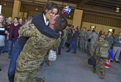 Air Commandos are reunited with family members and friends during Operation Homecoming at the Deployment Control Center on Hurlburt Field, Jan. 13, 2016. Operation Homecoming brought approximately 80 Airmen home from their deployment overseas. (U.S. Air Force photo by Senior Airman Ryan Conroy)