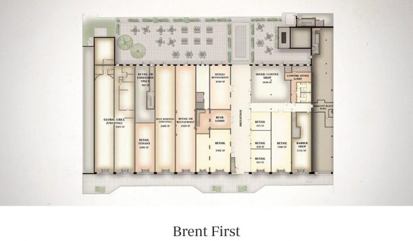 A floor plan of the Brent Building's first