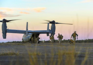 Security forces members with the 1st Special Operations Security Forces Squadron debark a CV-22 Osprey during exercise Frigid Archer 2016 on Eglin Range, Fla., Jan. 6, 2016. Frigid Archer was a week-long exercise that tested 1st Special Operations Wing Air Commandos' expertise through a myriad of operational and support requirements. (Senior Airman Ryan Conroy/Special to The Pulse)