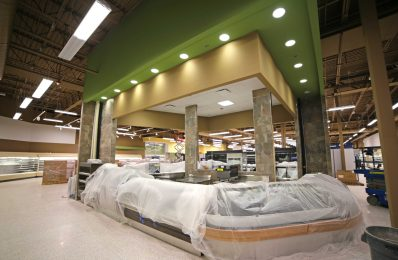 The new cafe area under construction in the East Hill Publix, scheduled to open Feb. 4. (Drew Buchanan/The Pulse)