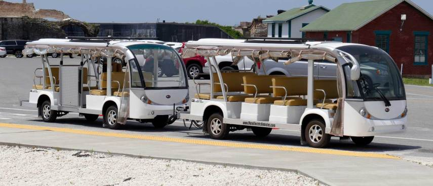 New electric trams will carry visitors from Fort Pickens' ferry landing to different attractions around the fort. (Bruce Graner/The Pulse)