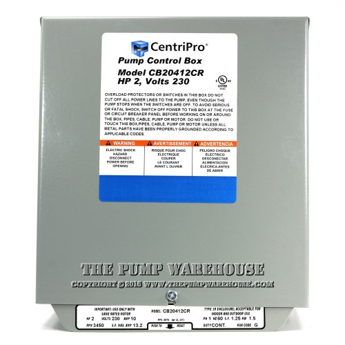 small resolution of centripro cscr control box 2 hp 230v rh thepumpwarehouse com centripro pump control wiring diagram submersible well pump control box