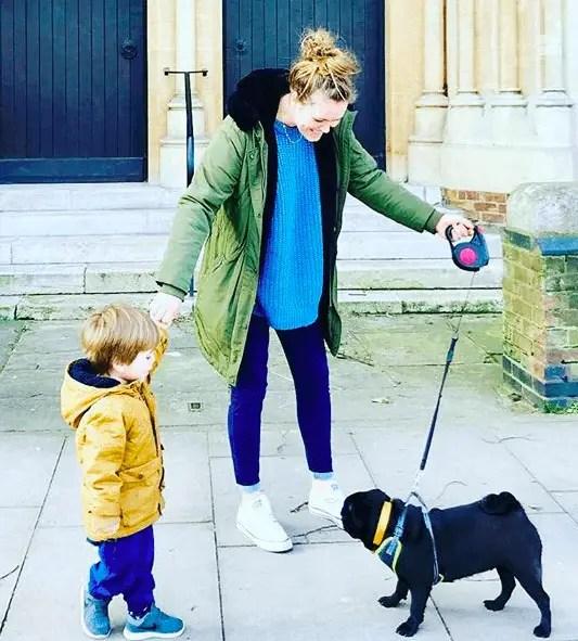 Naomi and rescue pug Baloo